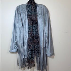 Chico's Faux Suede Fringe Jacket XL Grey